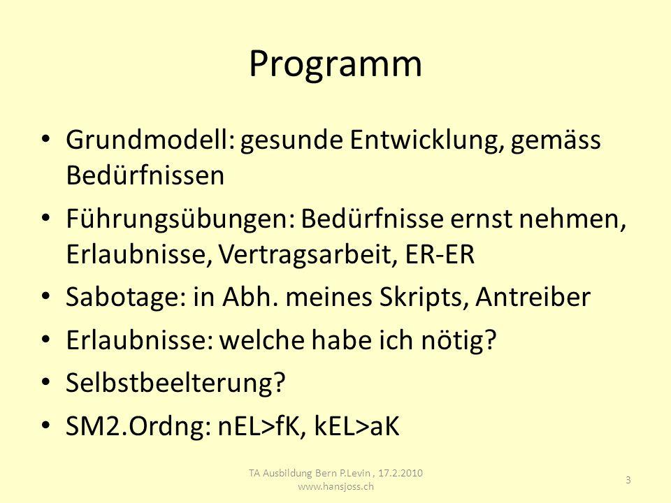 Programm Grundmodell: gesunde Entwicklung, gemäss Bedürfnissen Führungsübungen: Bedürfnisse ernst nehmen, Erlaubnisse, Vertragsarbeit, ER-ER Sabotage: