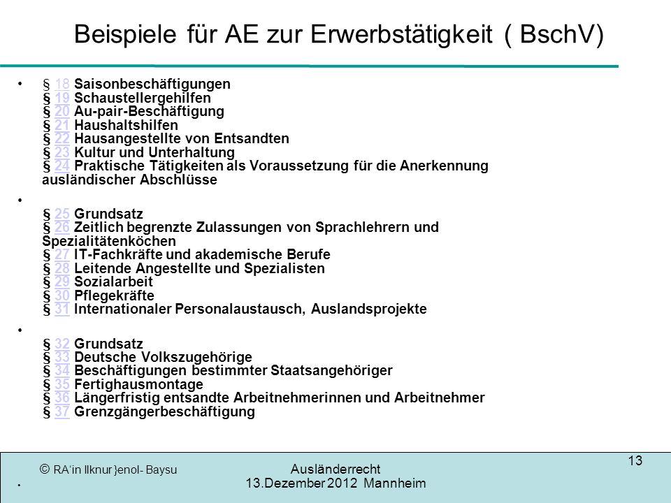 © RAin Ilknur }enol- Baysu Ausländerrecht 13.Dezember 2012 Mannheim 13 Beispiele für AE zur Erwerbstätigkeit ( BschV) § 18 Saisonbeschäftigungen § 19