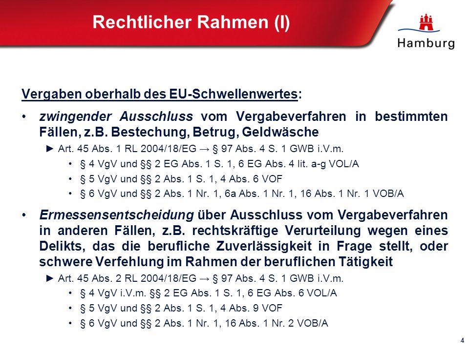 Rechtlicher Rahmen (I) Vergaben oberhalb des EU-Schwellenwertes: zwingender Ausschluss vom Vergabeverfahren in bestimmten Fällen, z.B.