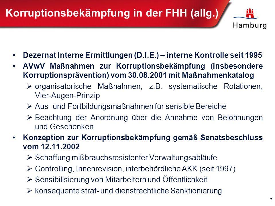 Besondere Integritätsanforderung für Schulungs- und Beratungsdienstleister Senatsmitteilung vom 26.09.1995 (Bü-Drs.