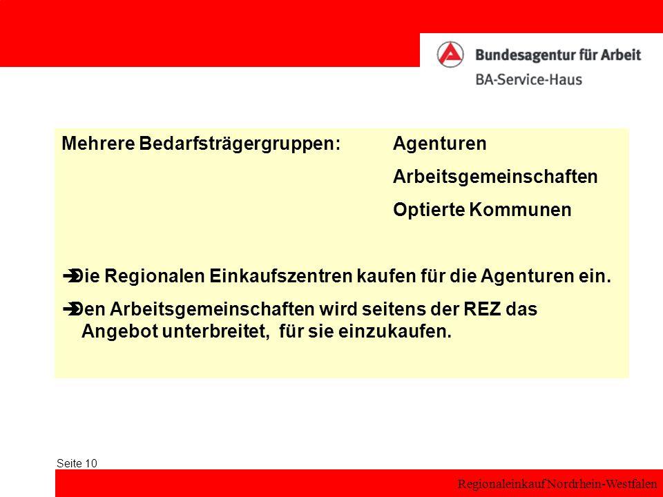 Regionaleinkauf Nordrhein-Westfalen Seite 10 Mehrere Bedarfsträgergruppen:Agenturen Arbeitsgemeinschaften Optierte Kommunen Die Regionalen Einkaufszen