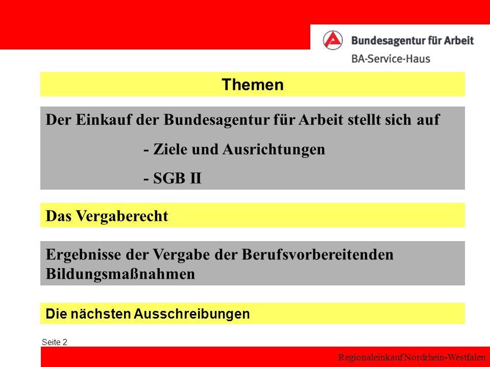 Regionaleinkauf Nordrhein-Westfalen Seite 3 Themen Der Einkauf der Bundesagentur für Arbeit stellt sich auf - Ziele und Ausrichtungen - SGB II