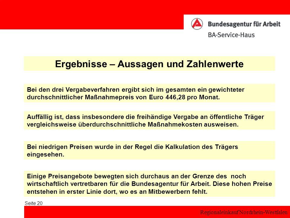 Regionaleinkauf Nordrhein-Westfalen Seite 20 Ergebnisse – Aussagen und Zahlenwerte Bei den drei Vergabeverfahren ergibt sich im gesamten ein gewichtet