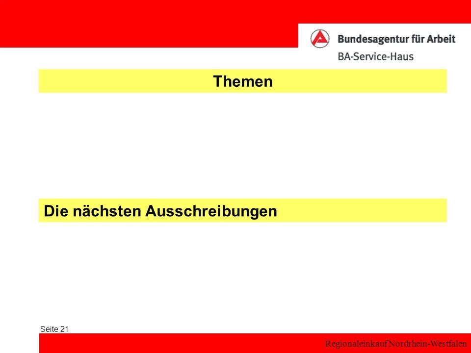 Regionaleinkauf Nordrhein-Westfalen Seite 21 Themen Die nächsten Ausschreibungen