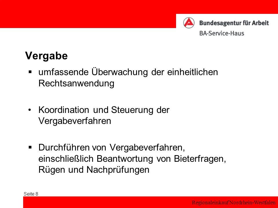 Regionaleinkauf Nordrhein-Westfalen Seite 8 Vergabe umfassende Überwachung der einheitlichen Rechtsanwendung Koordination und Steuerung der Vergabever