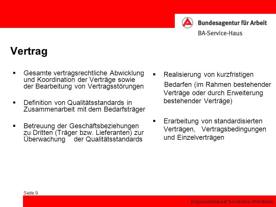 Regionaleinkauf Nordrhein-Westfalen Seite 9 Vertrag Gesamte vertragsrechtliche Abwicklung und Koordination der Verträge sowie der Bearbeitung von Vertragsstörungen Definition von Qualitätsstandards in Zusammenarbeit mit dem Bedarfsträger Betreuung der Geschäftsbeziehungen zu Dritten (Träger bzw.