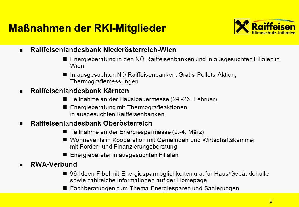 6 Raiffeisenlandesbank Niederösterreich-Wien Energieberatung in den NÖ Raiffeisenbanken und in ausgesuchten Filialen in Wien In ausgesuchten NÖ Raiffe