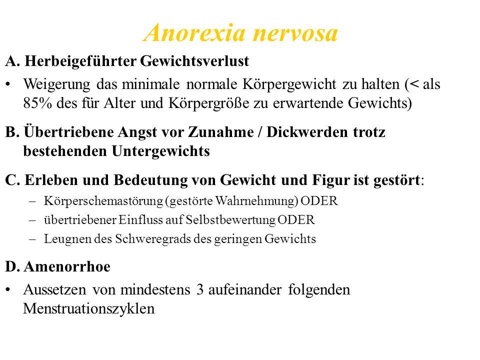 Anorexia nervosa A. Herbeigeführter Gewichtsverlust Weigerung das minimale normale Körpergewicht zu halten (< als 85% des für Alter und Körpergröße zu