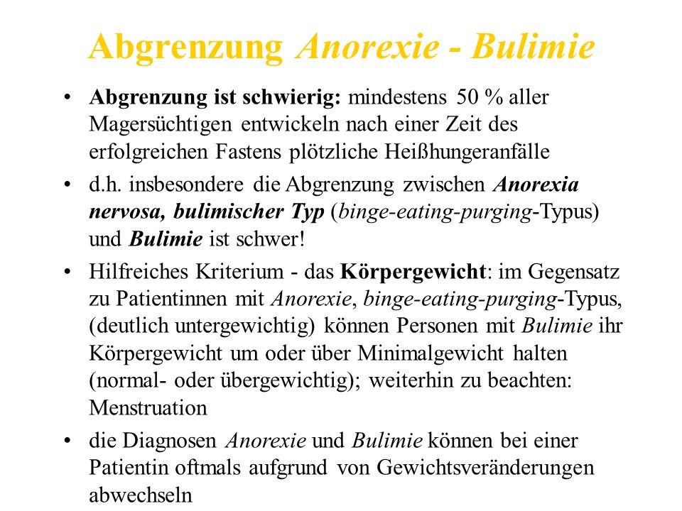 Abgrenzung Anorexie - Bulimie Abgrenzung ist schwierig: mindestens 50 % aller Magersüchtigen entwickeln nach einer Zeit des erfolgreichen Fastens plötzliche Heißhungeranfälle d.h.