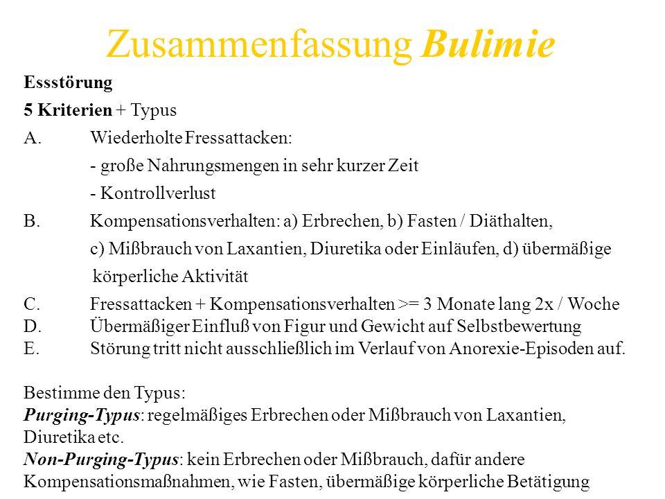 Zusammenfassung Bulimie Essstörung 5 Kriterien + Typus A.Wiederholte Fressattacken: - große Nahrungsmengen in sehr kurzer Zeit - Kontrollverlust B.Kom