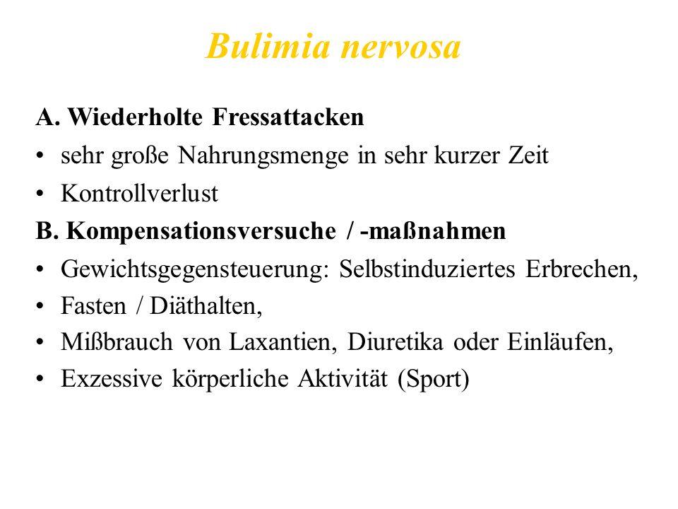 Bulimia nervosa A. Wiederholte Fressattacken sehr große Nahrungsmenge in sehr kurzer Zeit Kontrollverlust B. Kompensationsversuche / -maßnahmen Gewich