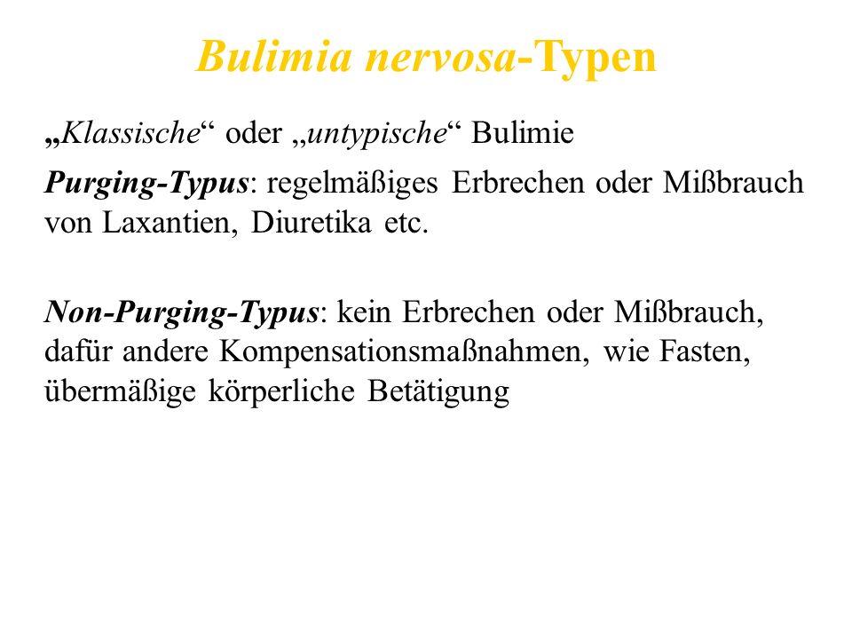Bulimia nervosa-Typen Klassische oder untypische Bulimie Purging-Typus: regelmäßiges Erbrechen oder Mißbrauch von Laxantien, Diuretika etc. Non-Purgin
