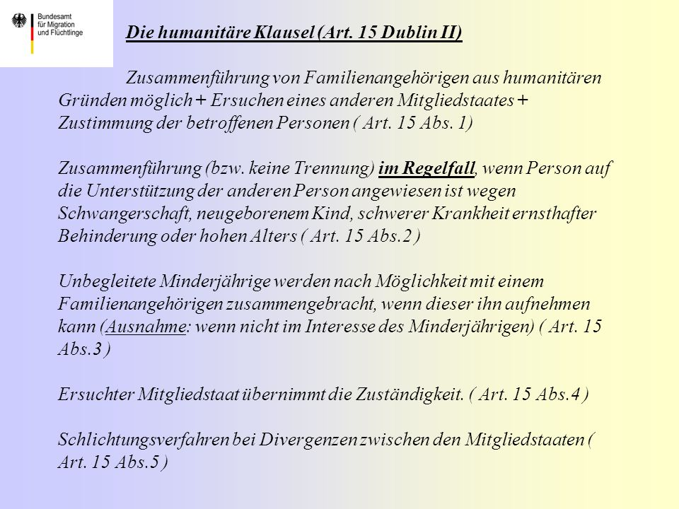 Die humanitäre Klausel (Art.