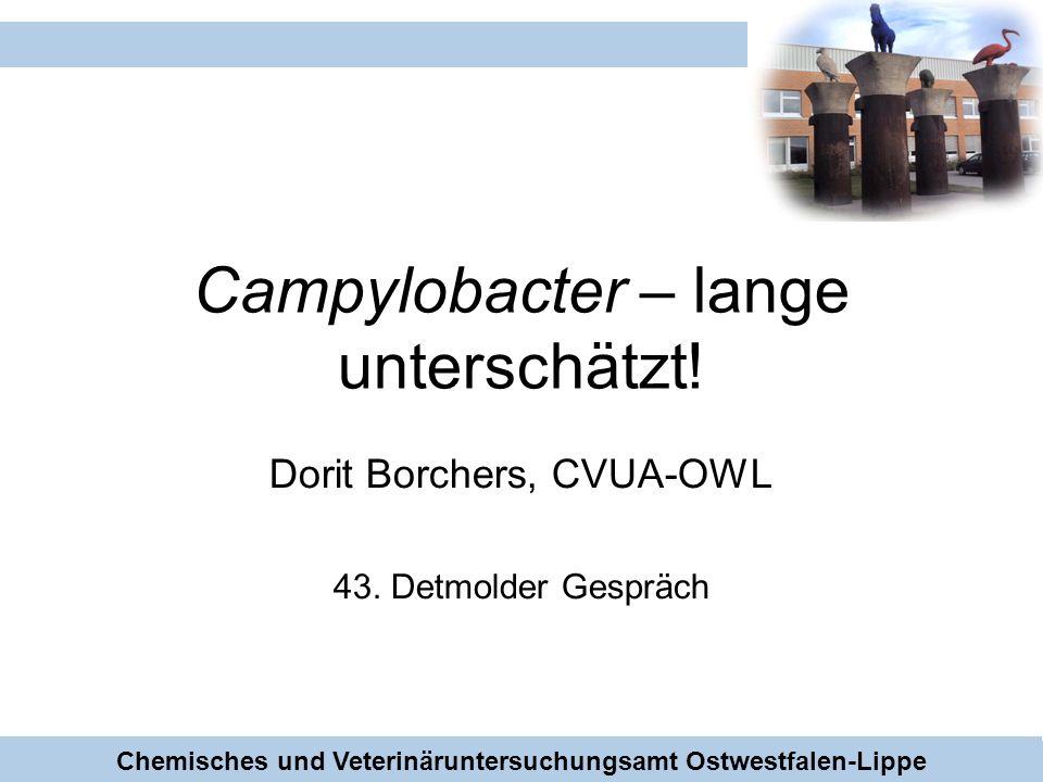 CVUA-OWL Campylobacter – lange unterschätzt! Dorit Borchers, CVUA-OWL 43. Detmolder Gespräch Chemisches und Veterinäruntersuchungsamt Ostwestfalen-Lip
