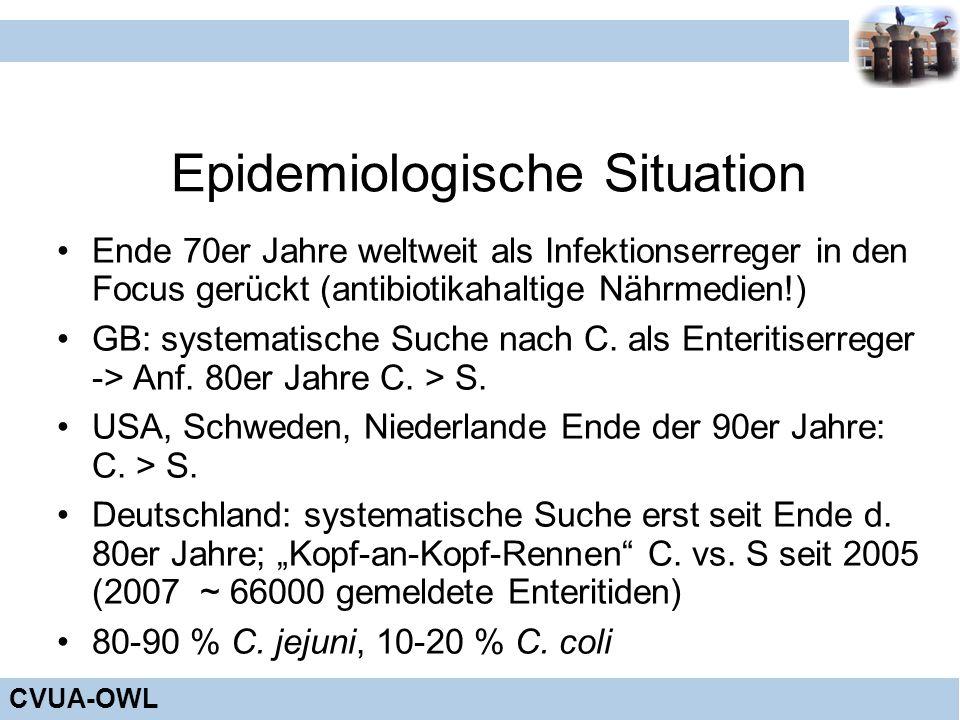 CVUA-OWL Epidemiologische Situation Ende 70er Jahre weltweit als Infektionserreger in den Focus gerückt (antibiotikahaltige Nährmedien!) GB: systemati