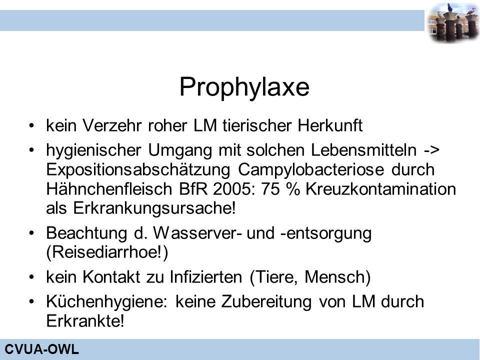 CVUA-OWL Prophylaxe kein Verzehr roher LM tierischer Herkunft hygienischer Umgang mit solchen Lebensmitteln -> Expositionsabschätzung Campylobacterios