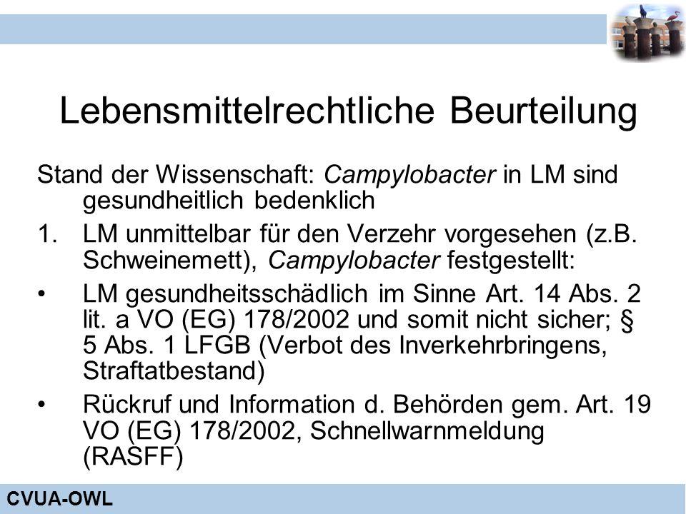 CVUA-OWL Lebensmittelrechtliche Beurteilung Stand der Wissenschaft: Campylobacter in LM sind gesundheitlich bedenklich 1.LM unmittelbar für den Verzeh