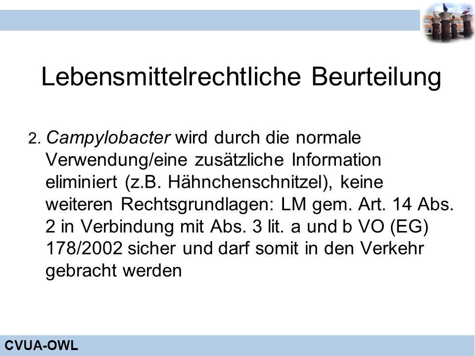 CVUA-OWL Lebensmittelrechtliche Beurteilung 2. Campylobacter wird durch die normale Verwendung/eine zusätzliche Information eliminiert (z.B. Hähnchens