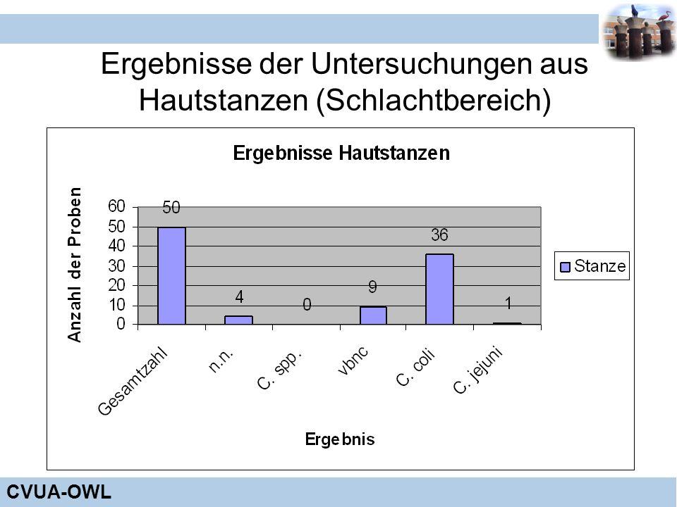CVUA-OWL Ergebnisse der Untersuchungen aus Hautstanzen (Schlachtbereich)