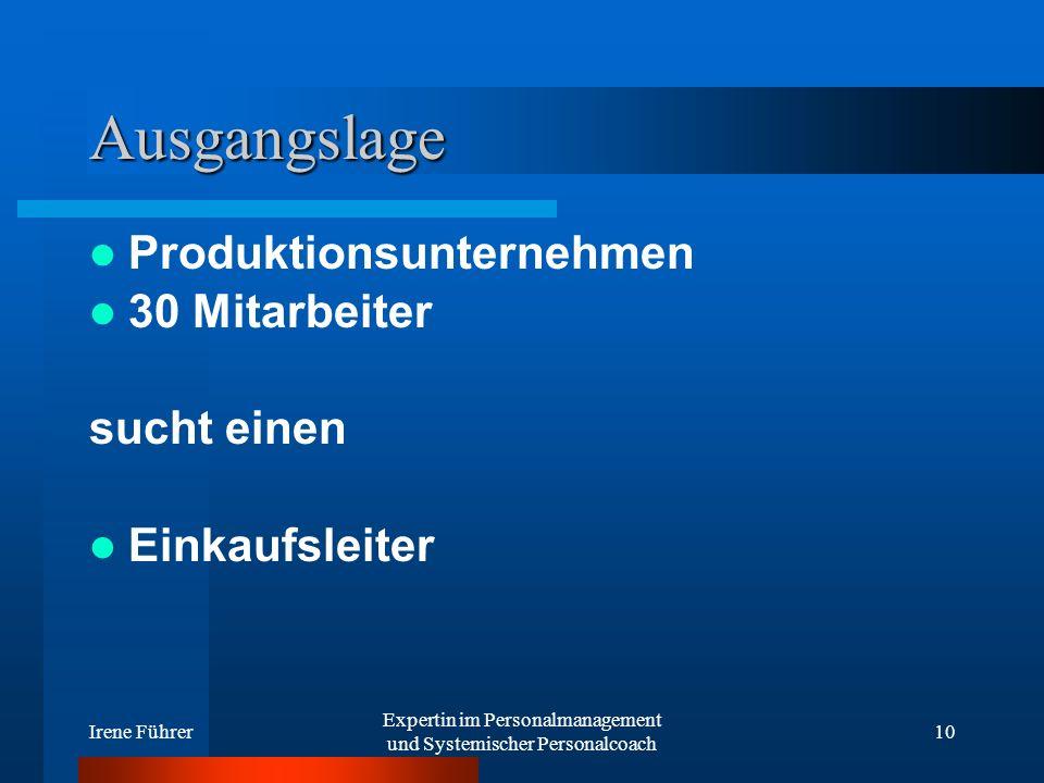 Irene Führer Expertin im Personalmanagement und Systemischer Personalcoach 10 Ausgangslage Produktionsunternehmen 30 Mitarbeiter sucht einen Einkaufsl