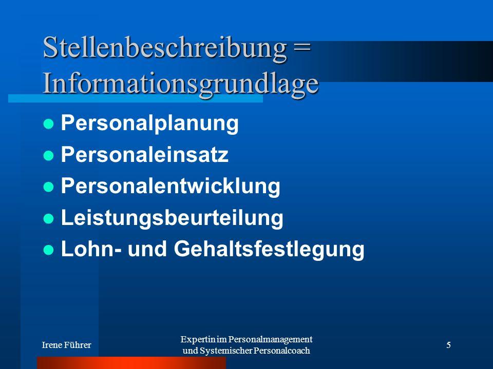 Irene Führer Expertin im Personalmanagement und Systemischer Personalcoach 5 Stellenbeschreibung = Informationsgrundlage Personalplanung Personaleinsa