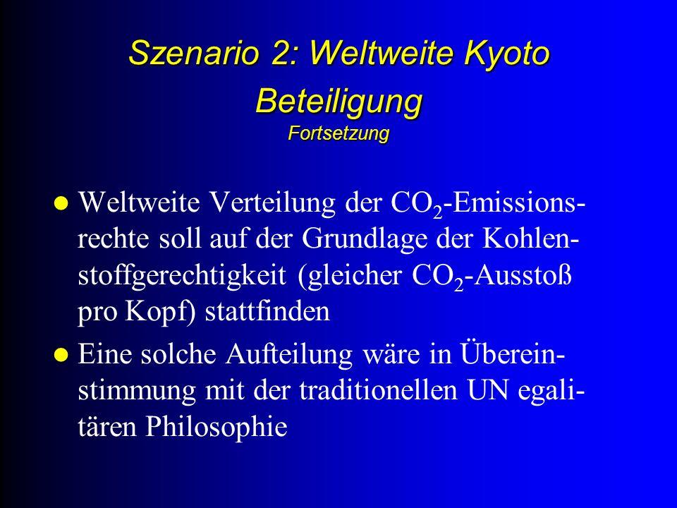 Szenario 2: Weltweite Kyoto Beteiligung Fortsetzung Weltweite Verteilung der CO 2 -Emissions- rechte soll auf der Grundlage der Kohlen- stoffgerechtigkeit (gleicher CO 2 -Ausstoß pro Kopf) stattfinden Eine solche Aufteilung wäre in Überein- stimmung mit der traditionellen UN egali- tären Philosophie
