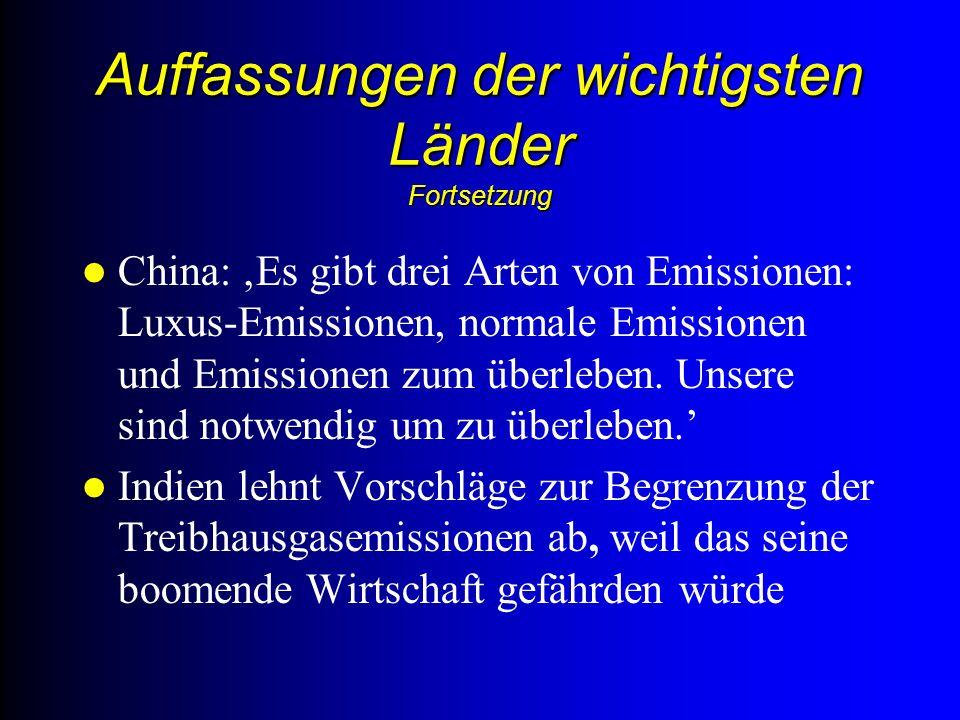 Auffassungen der wichtigsten Länder Fortsetzung China: Es gibt drei Arten von Emissionen: Luxus-Emissionen, normale Emissionen und Emissionen zum überleben.