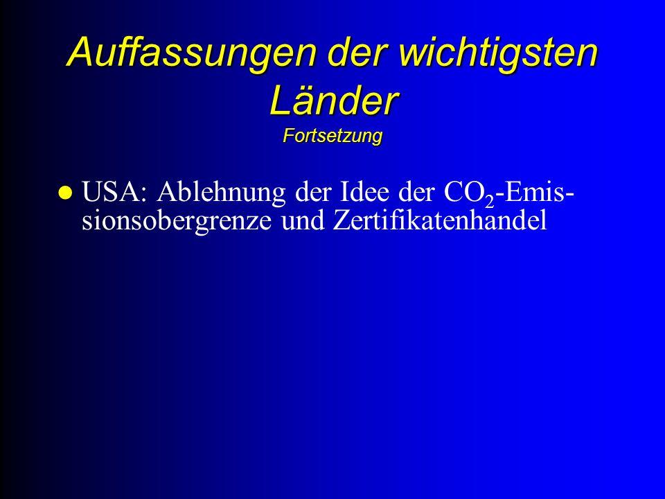 Auffassungen der wichtigsten Länder Fortsetzung USA: Ablehnung der Idee der CO 2 -Emis- sionsobergrenze und Zertifikatenhandel
