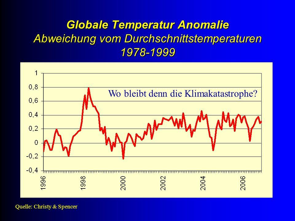 Quelle: Christy & Spencer Globale Temperatur Anomalie Abweichung vom Durchschnittstemperaturen 1978-1999 Wo bleibt denn die Klimakatastrophe?