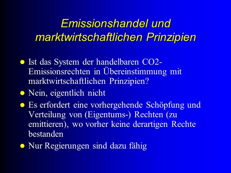 Emissionshandel und marktwirtschaftlichen Prinzipien Ist das System der handelbaren CO2- Emissionsrechten in Übereinstimmung mit marktwirtschaftlichen Prinzipien.