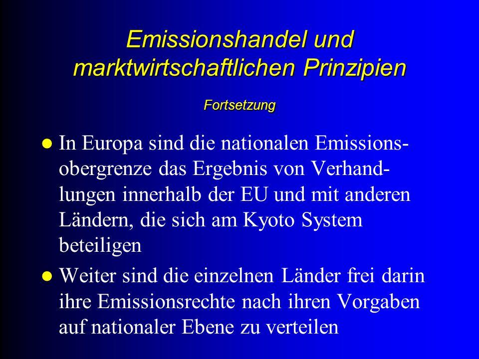 Emissionshandel und marktwirtschaftlichen Prinzipien Fortsetzung In Europa sind die nationalen Emissions- obergrenze das Ergebnis von Verhand- lungen innerhalb der EU und mit anderen Ländern, die sich am Kyoto System beteiligen Weiter sind die einzelnen Länder frei darin ihre Emissionsrechte nach ihren Vorgaben auf nationaler Ebene zu verteilen