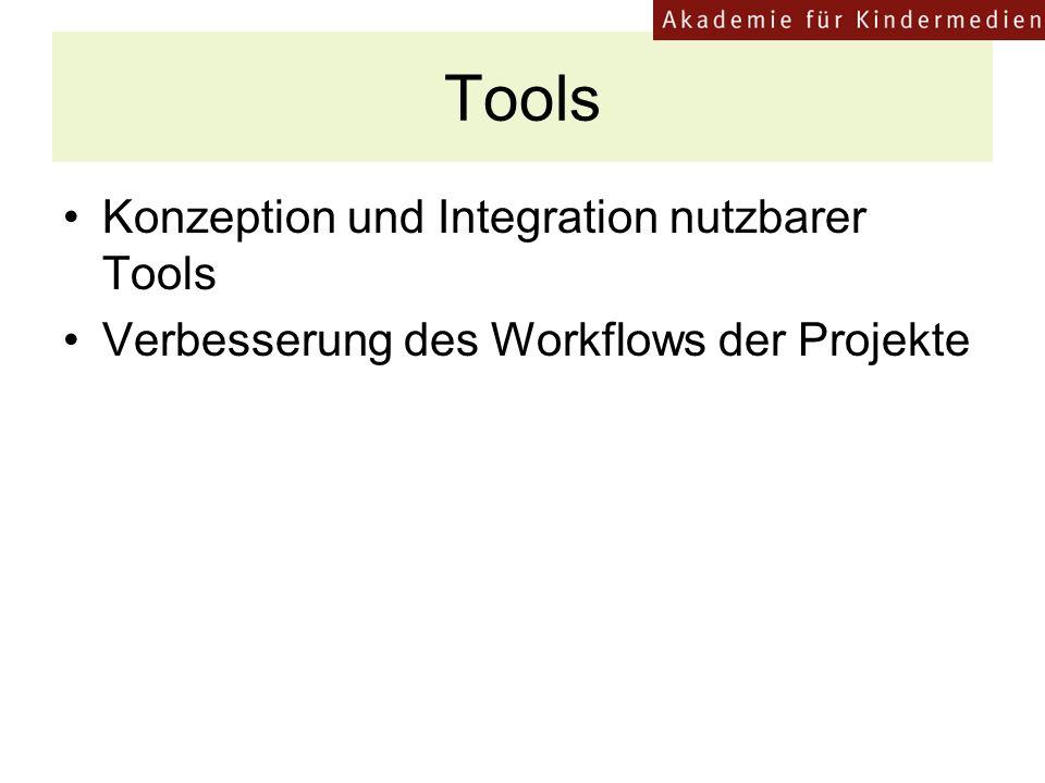Tools Konzeption und Integration nutzbarer Tools Verbesserung des Workflows der Projekte
