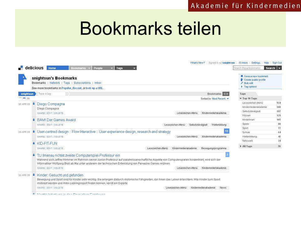 Bookmarks teilen