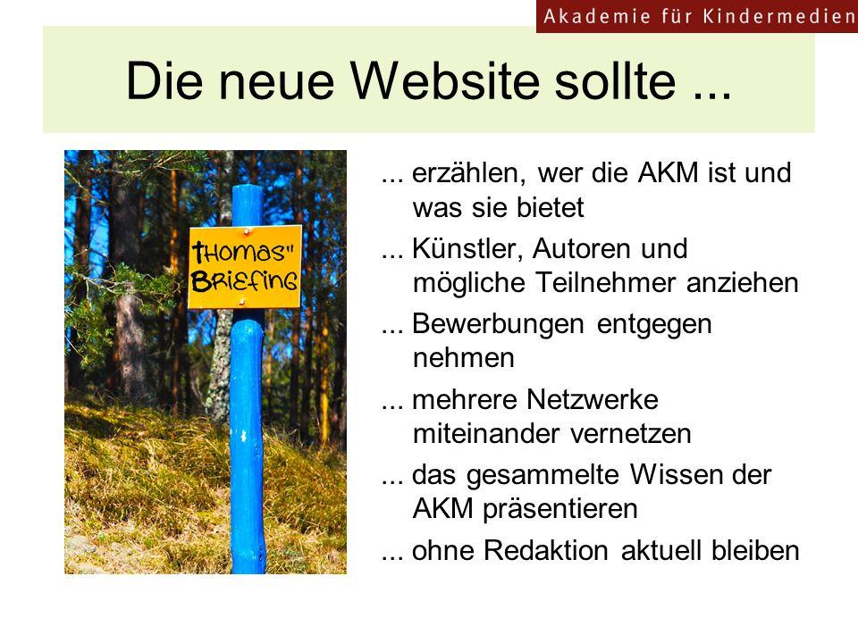 Die neue Website sollte......erzählen, wer die AKM ist und was sie bietet...