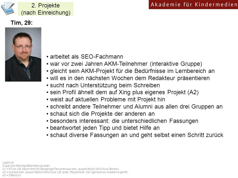 2. Projekte (nach Einreichung) Tim, 29: arbeitet als SEO-Fachmann war vor zwei Jahren AKM-Teilnehmer (interaktive Gruppe) gleicht sein AKM-Projekt für