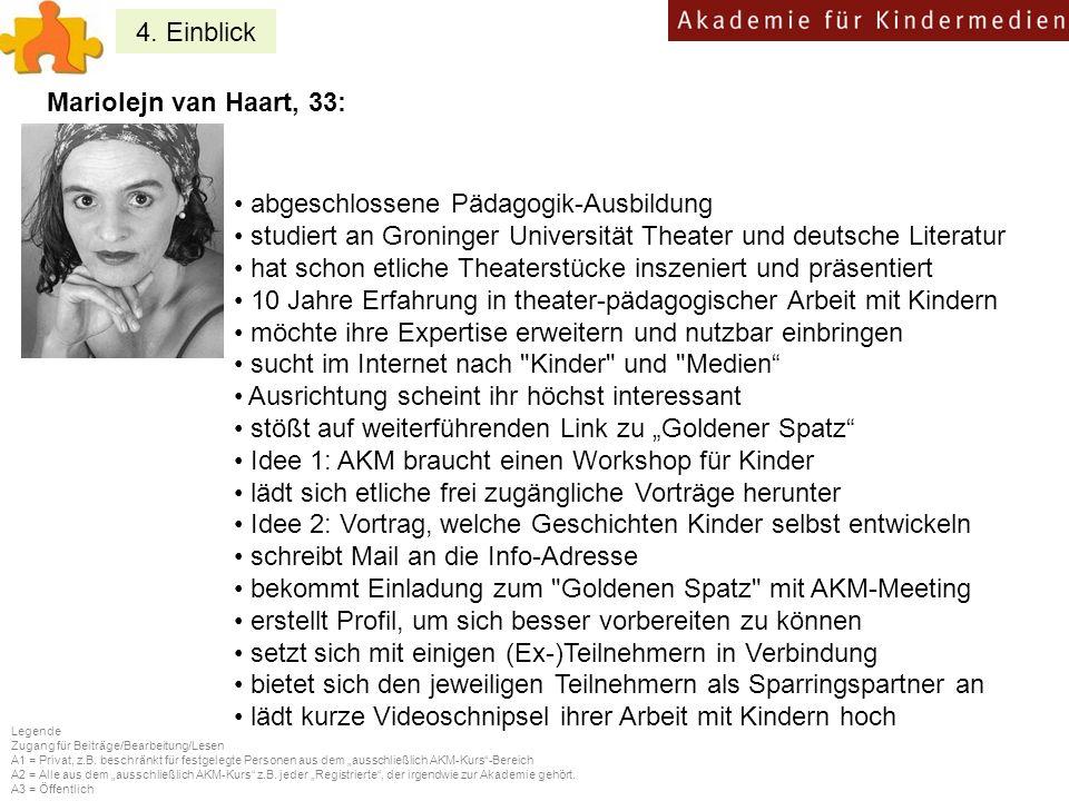 4. Einblick Mariolejn van Haart, 33: abgeschlossene Pädagogik-Ausbildung studiert an Groninger Universität Theater und deutsche Literatur hat schon et