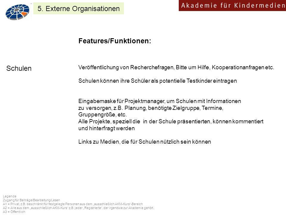 Features/Funktionen: Eingabemaske für Projektmanager, um Schulen mit Informationen zu versorgen, z.B.