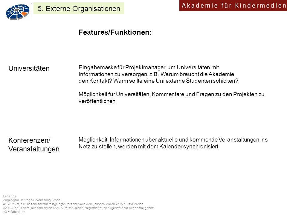 Features/Funktionen: EIngabemaske für Projektmanager, um Universitäten mit Informationen zu versorgen, z.B.