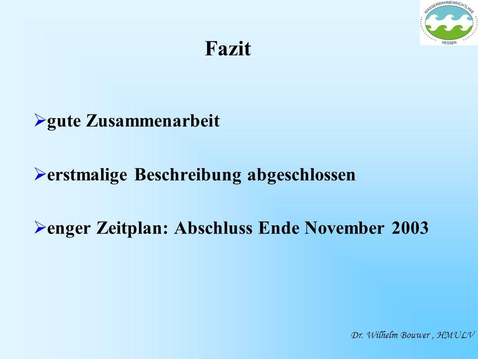 gute Zusammenarbeit erstmalige Beschreibung abgeschlossen enger Zeitplan: Abschluss Ende November 2003 Dr.