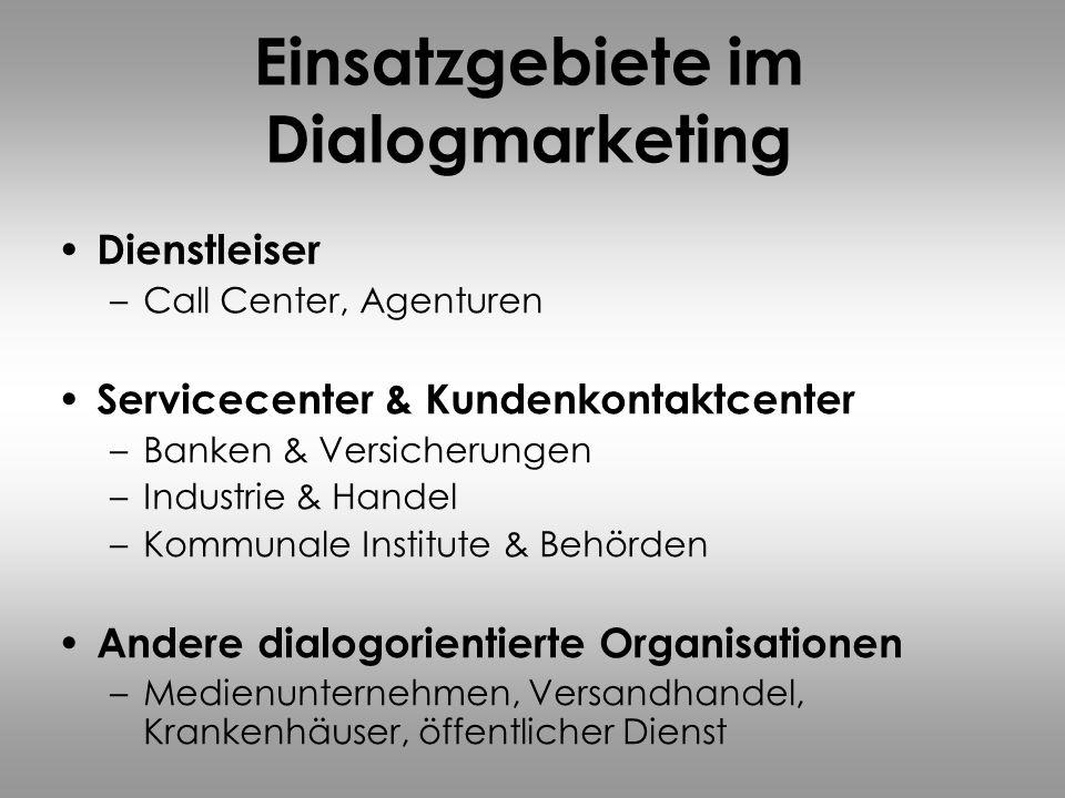 Einsatzgebiete im Dialogmarketing Dienstleiser –Call Center, Agenturen Servicecenter & Kundenkontaktcenter –Banken & Versicherungen –Industrie & Hande