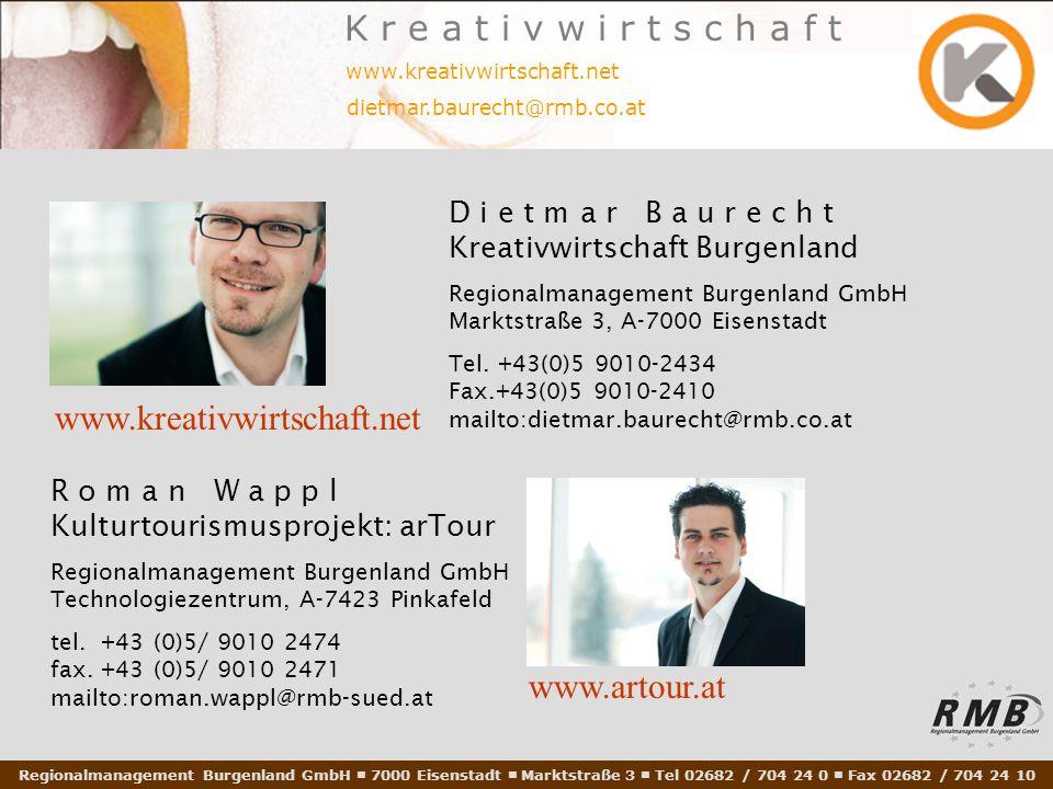 Regionalmanagement Burgenland GmbH 7000 Eisenstadt Marktstraße 3 Tel 02682 / 704 24 0 Fax 02682 / 704 24 10 www.kreativwirtschaft.net dietmar.baurecht@rmb.co.at K r e a t i v w i r t s c h a f t D i e t m a r B a u r e c h t Kreativwirtschaft Burgenland Regionalmanagement Burgenland GmbH Marktstraße 3, A-7000 Eisenstadt Tel.