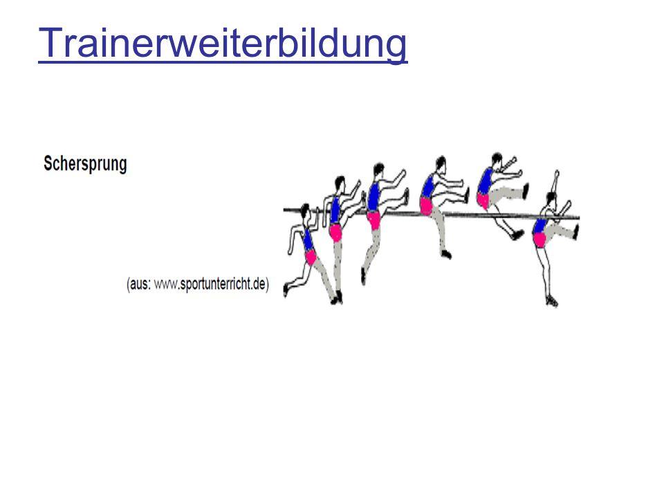 Praktische Hinweise zu den einzelnen Phasen: Anlauf: Start zunächst aus Stand (später aus Angehen oder 3-4 Auftaktschritte) 5-7 Schritte(später bis 12) Kein Geschw.-Verlust Körper-Innenneigung 15-30% Radius von Kraftverhältnissen abhängig Schrittlänge von Kraftverhältnissen abhängig Absprungvorbereitung: Aufrichten des Oberkörpers Absenkung KSP Rhythmus der letzten 3 Schritte-letzter Schritt verkürzt Armeinsatz ( Doppelarm-oder Führungsarmeinsatz)