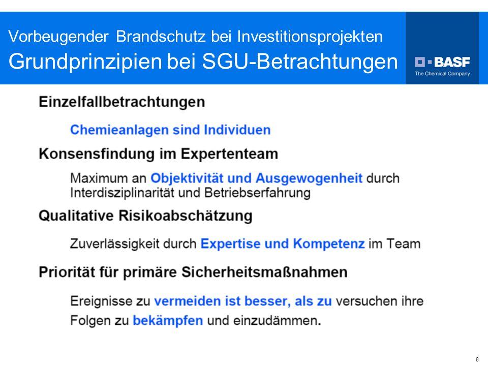 8 Vorbeugender Brandschutz bei Investitionsprojekten Grundprinzipien bei SGU-Betrachtungen