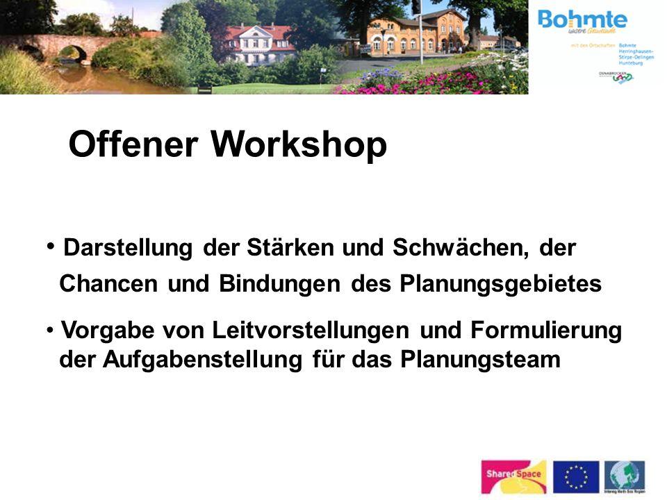 1. Einwohnerversammlung12.07.2004 Bürger-Workshops09 – 11/2004 2. Einwohnerversammlung10.05.2005 Start der Bearbeitung durch das Planungsteam05 / 2005