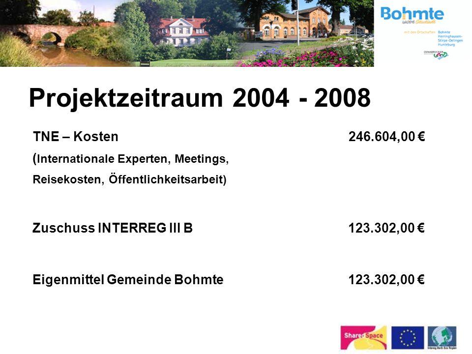 Projektzeitraum 2004 - 2008 Eigenmittel Gemeinde Bohmte 1.532.385,22 kofinanziert durch: GVFG für Rad- und Fußweg Am Schwaken Hofe (nicht originär für