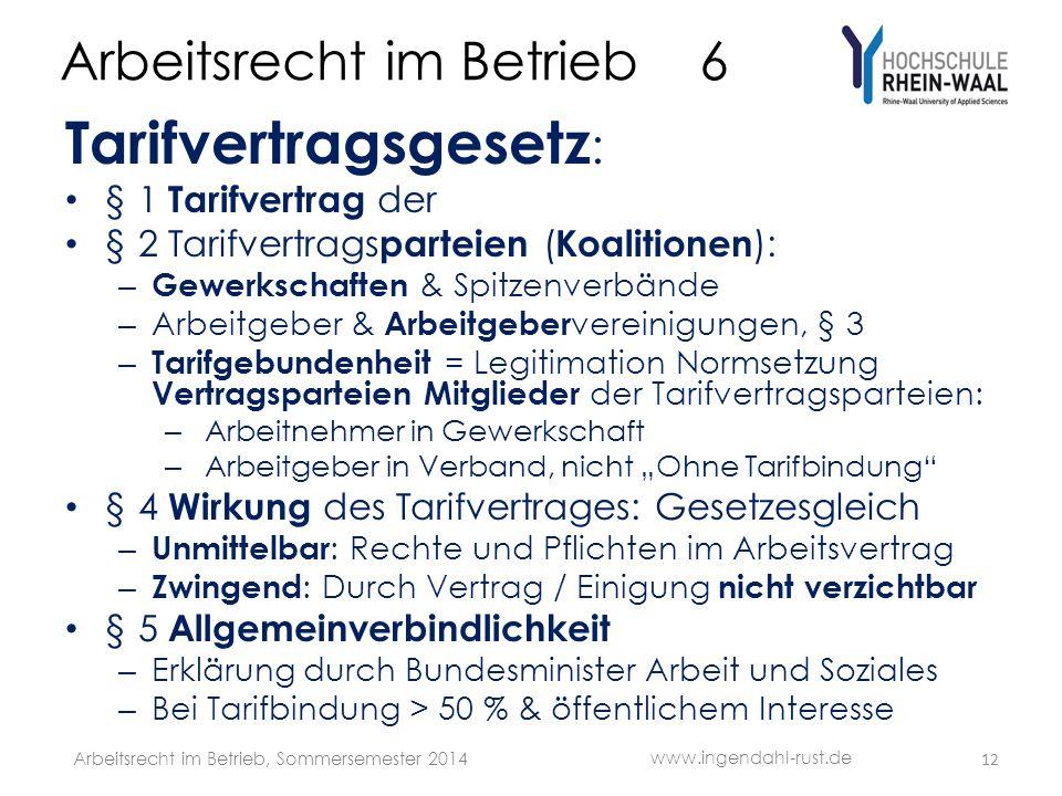 Arbeitsrecht im Betrieb 6 Tarifvertragsgesetz : § 1 Tarifvertrag der § 2 Tarifvertrags parteien ( Koalitionen ): – Gewerkschaften & Spitzenverbände –