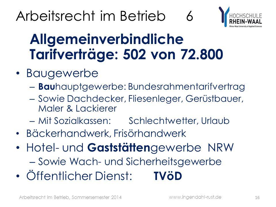 Arbeitsrecht im Betrieb 6 Allgemeinverbindliche Tarifverträge: 502 von 72.800 Baugewerbe – Bau hauptgewerbe: Bundesrahmentarifvertrag – Sowie Dachdecker, Fliesenleger, Gerüstbauer, Maler & Lackierer – Mit Sozialkassen: Schlechtwetter, Urlaub Bäckerhandwerk, Frisörhandwerk Hotel- und Gaststätten gewerbe NRW – Sowie Wach- und Sicherheitsgewerbe Öffentlicher Dienst: TVöD 16 www.ingendahl-rust.de Arbeitsrecht im Betrieb, Sommersemester 2014