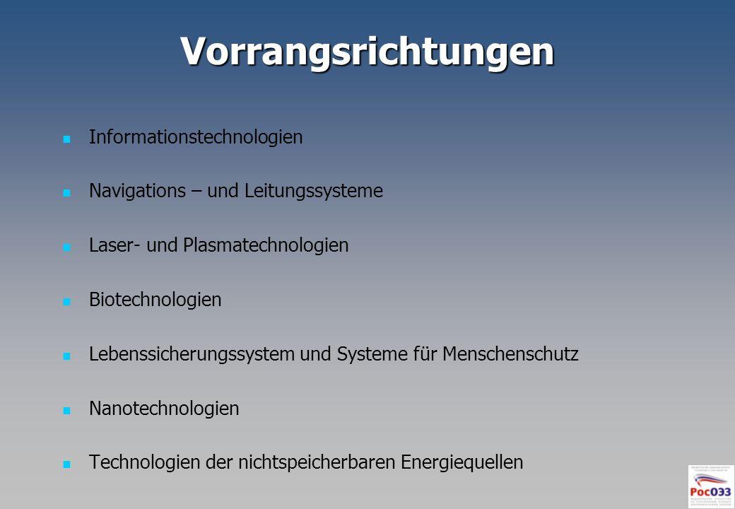 Vorrangsrichtungen Informationstechnologien Navigations – und Leitungssysteme Laser- und Plasmatechnologien Biotechnologien Lebenssicherungssystem und