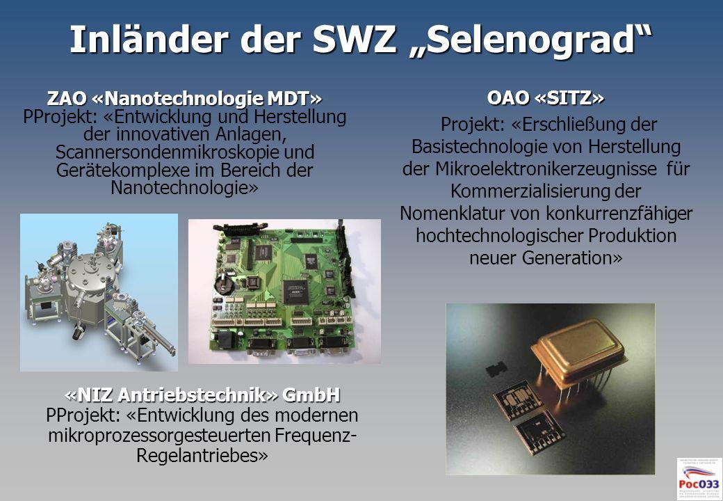 Inländer der SWZ Selenograd ZAO «Nanotechnologie MDT» PProjekt: «Entwicklung und Herstellung der innovativen Anlagen, Scannersondenmikroskopie und Ger