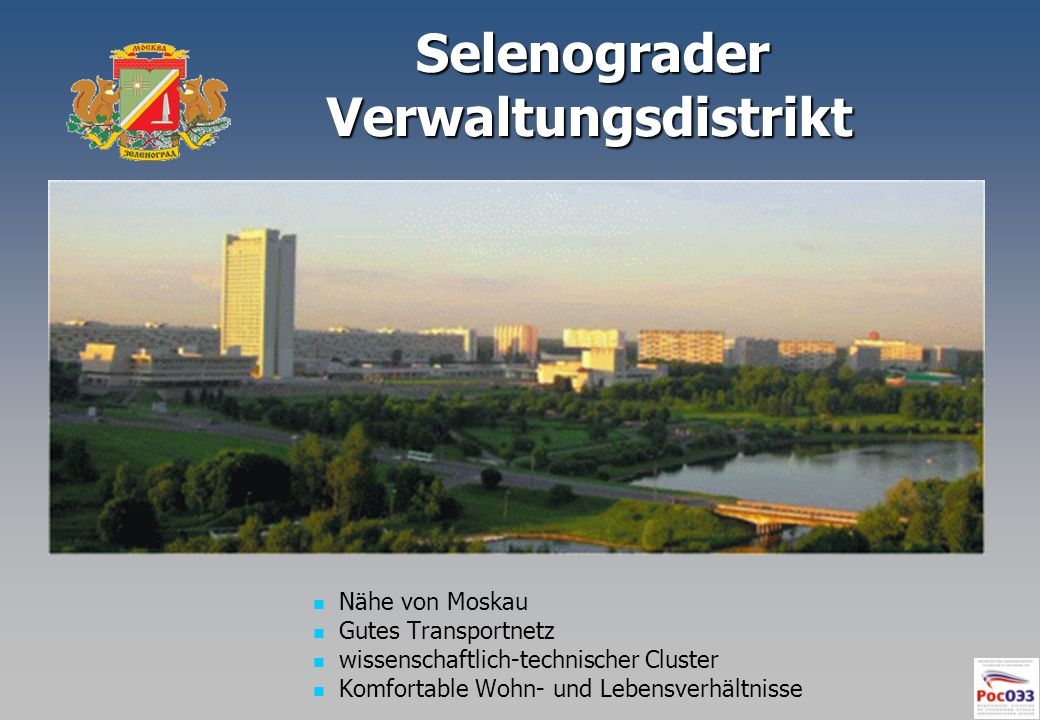 Selenograder Verwaltungsdistrikt Selenograder Verwaltungsdistrikt Nähe von Moskau Gutes Transportnetz wissenschaftlich-technischer Cluster Komfortable